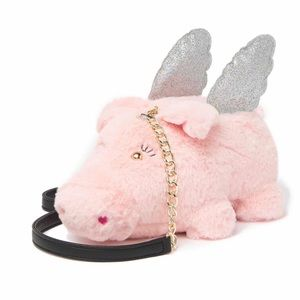 Luv Betsey Flying Pig Faux Fur Glitter Crossbody